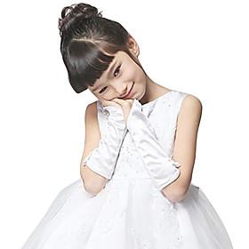 Elbow Length Fingerless Glove Satin Flower Girl Gloves Spring Fall Winter