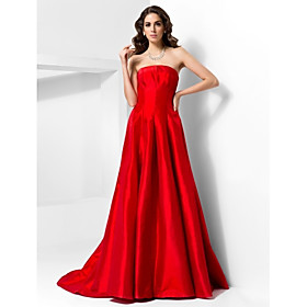 TS Couture Formal Evening Dress - Vintage Inspired Celebrity Style A-line Princess Strapless Court Train Taffeta with Draping plus size,  plus size fashion plus size appare