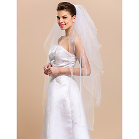 Wedding Veil Four-tier Fingertip Veils Pencil Edge 47.24 in (120cm) Tulle WhiteA-line, Ball Gown, Princess, Sheath/ Column, Trumpet/ thumbnail