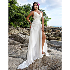 Sheath / Column V-neck Sweep / Brush Train Chiffon Wedding Dress with Criss-..