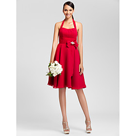 LAN TING BRIDE Knee-length Halter Bridesmaid Dress - Open Back Sleeveless Chiffon