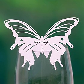 Pretty Butterfly Shaped Wedding Place Card For Glass (Set of 12)