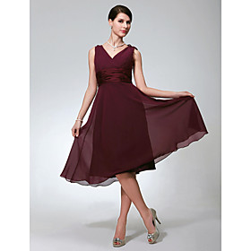 LAN TING BRIDE Knee-length Chiffon Bridesmaid Dress - A-line V-neck Plus Size / Petite plus size,  plus size fashion plus size appare