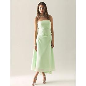 Sheath / Column Strapless Tea Length Asymmetrical Chiffon Bridesmaid Dress with Ruching Ruffles by LAN TING BRIDE plus size,  plus size fashion plus size appare
