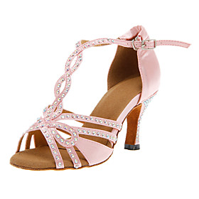 Women's Satin Latin Shoes / Salsa Shoes Buckle Heel Customized Heel Customizable Pink / Leather / EU40 Category:Salsa Shoes,Latin Shoes; Upper Materials:Satin; Embellishment:Buckle; Season:Winter,Fall,Summer,Spring; Lining Material:Leatherette; Heel Type:Customized Heel; Actual Heel Height:Customized Heel; Gender:Women's; Range:EU40; Style:Heel; Outsole Materials:Leather; Closure Type:Buckle; Customized Shoes:Customizable; Foot Length:; SizeChart1_ID:2:468; Popular Country:Hungary,Spain