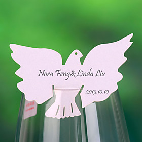 """Flying Dove"" Place Card For Wine Glass-kort (sett av 12)"