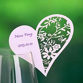 Hjerte haped Hollow-out Place Card For Wine Glass-kort (sett av 12)