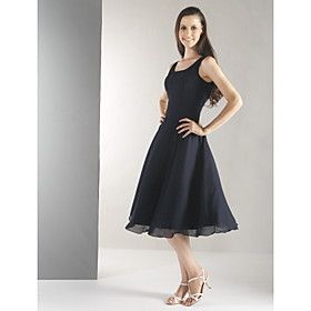 LAN TING BRIDE Knee-length Chiffon Bridesmaid Dress - A-line Straps Plus Size / Petite