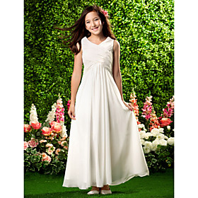 Sheath / Column V-neck Ankle Length Chiffon Junior Bridesmaid Dress with Draping Criss Cross by LAN TING BRIDE