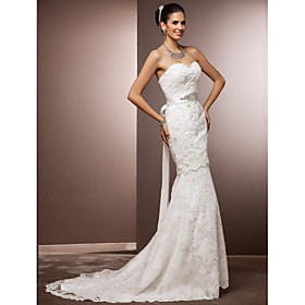 Mermaid / Trumpet Sweetheart Court Train Lace Wedding Dress with Beading Sash / Ribbon Bow Crystal Floral Pin by LAN TING BRIDE plus size,  plus size fashion plus size appare