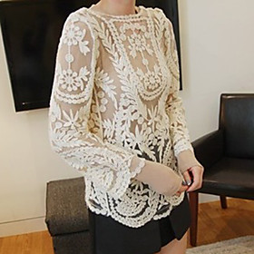 Women's Lace Embroidery Crochet Cutwork Sheer Outwear
