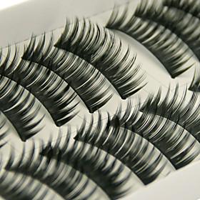 Longer Darker Thicker Curved Version Handmade Black Fiber Lashes False Eyelashes 1030#(10 Pairs Per Box)