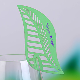 blad formet Place Card For Wine Glass-kort (sett av 12)