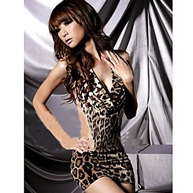 Leopard Deep V Backless Nightwear