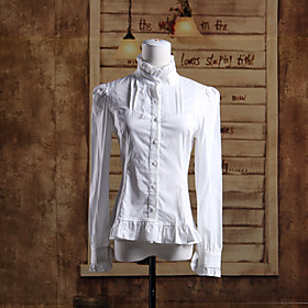 Stand Collar Long Sleeve White Cotton Classic Lolita Blouse $24.99 AT vintagedancer.com