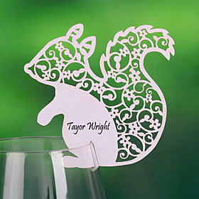 Cute Squirrel Shaped Place Card For Wine Glass-kort (sett av 12)