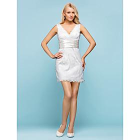 LAN TING BRIDE Sheath / Column Wedding Dress - Chic Modern Elegant Luxurious Vintage Inspired Little White Dress Short / Mini V-neck plus size,  plus size fashion plus size appare