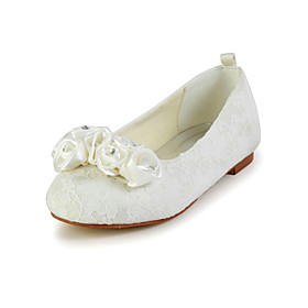 Pretty Lace Flat Heel Closed-toes Flats with Flower for Flower Girls(More Colors)