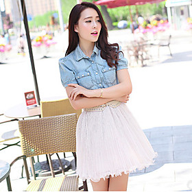 Women's Denim Top With Solid Color Pleated Skirts