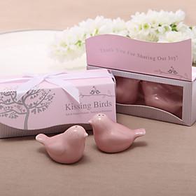 """""""Kissing Birds"""" Ceramic Salt Pepper Shakers Wedding Favor"""