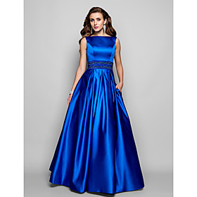 A-Line Ball Gown Bateau Neck Floor Length Satin Prom / Formal Evening / Military Ball Dress with Beading Draping Pocket by TS Couture plus size,  plus size fashion plus size appare