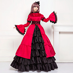 Image of One-Piece/Dress Classic/Traditional Lolita Lolita Cosplay Lolita Dress Patchwork Long Sleeve Long Length Dress For Cotton Satin