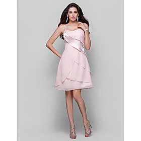 TS Couture Cocktail Party Homecoming Dress - Short A-line Princess Spaghetti Straps Short / Mini Chiffon Stretch Satin with Side Draping plus size,  plus size fashion plus size appare