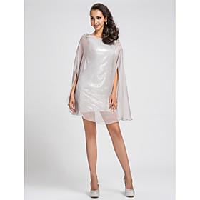 TS Couture Cocktail Party Dress - Sparkle Shine Sheath / Column Bateau Short / Mini Chiffon Sequined with Beading Sequins plus size,  plus size fashion plus size appare