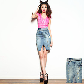 Women's Roll Up Waist Ripped Denim Skirts