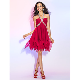A-Line Halter Y-Neck Short / Mini Chiffon Cocktail Party / Homecoming / Prom Dress with Crystal Detailing Ruched by TS Couture plus size,  plus size fashion plus size appare
