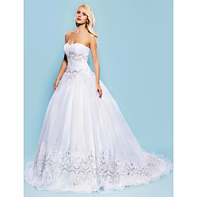 LAN TING BRIDE Ball Gown Wedding Dress - Classic Timeless Elegant Luxurious Vintage Inspired Court Train Sweetheart Organza with plus size,  plus size fashion plus size appare