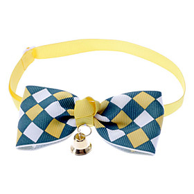 Cat / Dog Collar Bow Tie / With Bell Nylon Brown / Blue / Pink