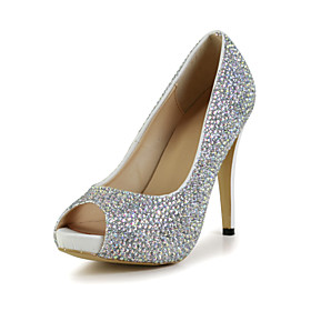 Elegant Leather Stiletto Heel Peep Toe Pumps with Rhinestone Party/Evening Shoes