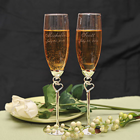Personalized Double Heart Design Toasting Flutes Wedding Reception 678255