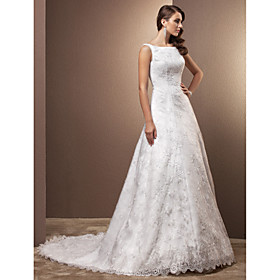 A-Line Scoop Neck Chapel Train All Over Floral Lace Custom Wedding Dresses with Lace by LAN TING BRIDE plus size,  plus size fashion plus size appare
