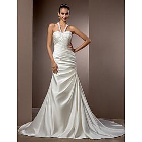 LAN TING BRIDE Trumpet / Mermaid Wedding Dress - Chic Modern Elegant Luxurious Vintage Inspired Chapel Train Halter Satin with plus size,  plus size fashion plus size appare