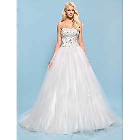 Ball Gown Sweetheart Chapel Train Satin Tulle Wedding Dress with Beading Appliques by LAN TING BRIDE plus size,  plus size fashion plus size appare