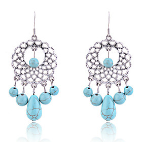 Silver Plated Alloy Turquoise Hollow-out Disk Pendant Earrings