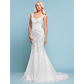 LAN TING BRIDE Trumpet / Mermaid Wedding Dress - Chic Modern Elegant Luxurious Vintage Inspired Sparkle Shine Court Train V-neck plus size,  plus size fashion plus size appare