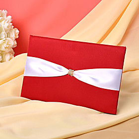 Red Wedding Guest Book Med White Satin Sash