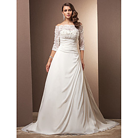 Lanting Bride A-line Petite / Plus Sizes Wedding Dress - Classic Timeless / Glamorous Dramatic Vintage Inspired Court Train plus size,  plus size fashion plus size appare