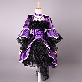 Image of One-Piece/Dress Gothic Lolita Lolita Cosplay Lolita Dress Purple / Black Solid 3/4-Length Sleeve Lolita Dress For Women Satin / Organza