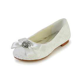 Pretty Lace Flat Heel Closed-toes Flats with Bowknot and Rhinestone Flower Girls Shoes(More Colors)
