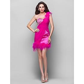 TS Couture Cocktail Party / Homecoming / Prom Dress - Open Back Plus Size / Petite A-line / Princess One Shoulder Short / MiniChiffon / Stretch plus size,  plus size fashion plus size appare