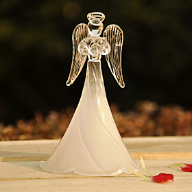 White Frosted Glass Blessing Angel Keepsake