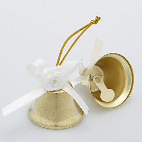 Gold Widding Bell With Satin Flower (Set of 6)