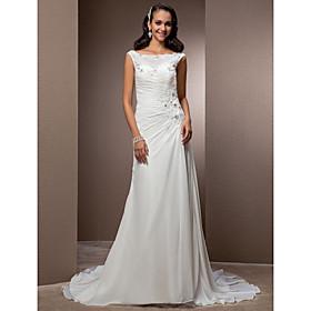 LAN TING BRIDE Sheath / Column Wedding Dress - Classic Timeless Elegant Luxurious Vintage Inspired Court Train Bateau Chiffon with plus size,  plus size fashion plus size appare