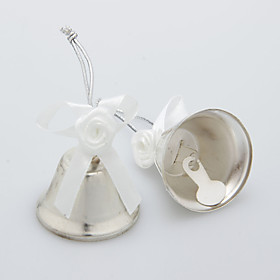 Silver Widding Bell With Satin Flower (Set of 6)