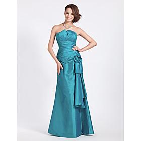 LAN TING BRIDE Floor-length Strapless Notched Bridesmaid Dress - Floral Sleeveless Taffeta