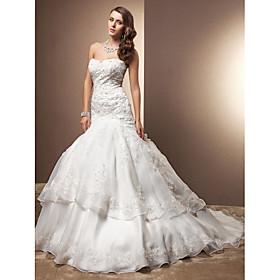 LAN TING BRIDE Trumpet / Mermaid Wedding Dress - Chic Modern Elegant Luxurious Vintage Inspired Chapel Train Sweetheart Lace Organza plus size,  plus size fashion plus size appare